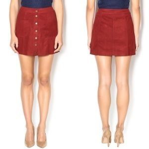 NWOT Red Suede Cotton Candy Mini Skirt